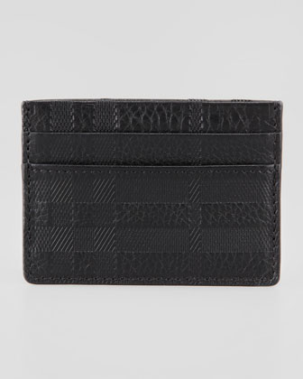 Check-Embossed Leather Card Case, Black