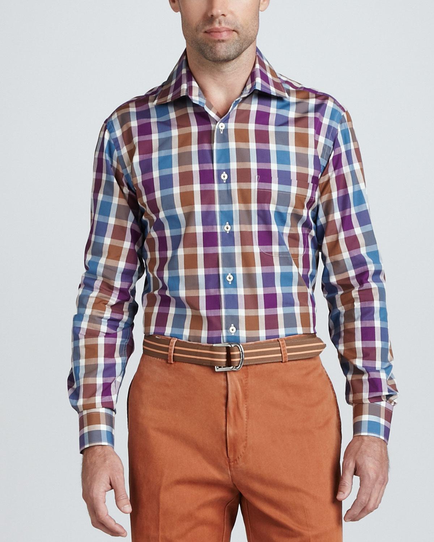 Mens Soho Check Long Sleeve Shirt, Marina Blue   Peter Millar   Marina blue