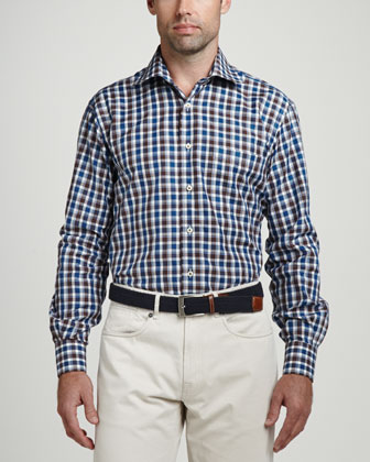 Newport Plaid Long-Sleeve Shirt, Navy