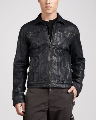 Waxed Denim Zip-Front Jacket, Black