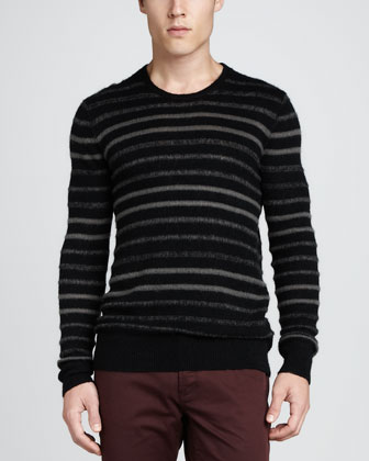 Brushed-Knit Striped Sweater, Black