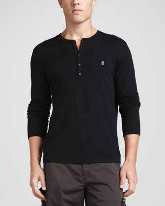Peace-Sign Henley Shirt, Black