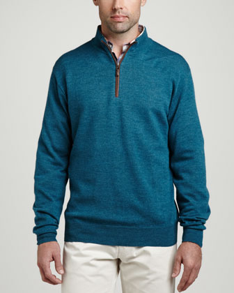 Merino 1/4-Zip Pullover Sweater, Moonstone