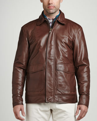 Maverick Leather Bomber Jacket, Chocolate