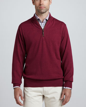 Merino 1/4-Zip Pullover Sweater, Antique Rose