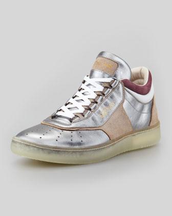 Joust III Metallic Lo-Top Sneaker, Silver