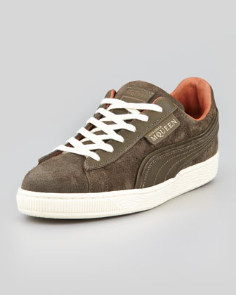 AMQ Suede Lace-Up Sneaker, Gray