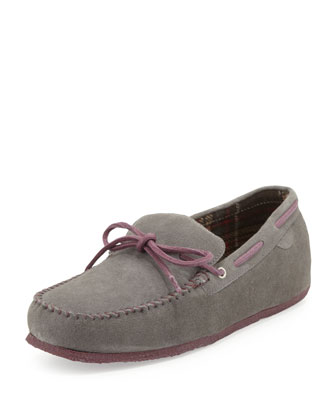R&R Suede Moccasin Slipper, Gray
