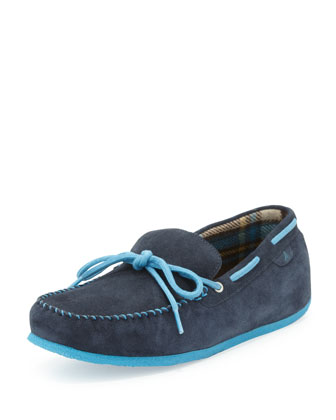 R&R Suede Moccasin Slipper, Navy