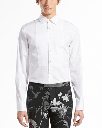 Cotton-Poplin Evening Shirt, White