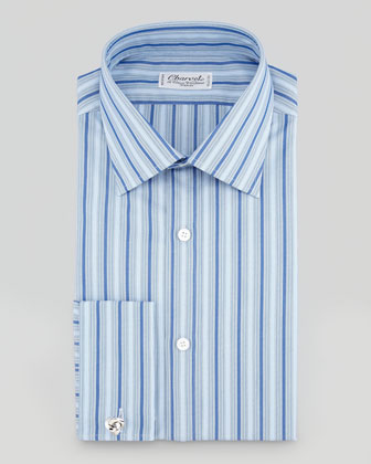 Tonal Stripe Dress Shirt, Blue