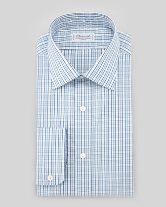 Small-Check Barrel-Cuff Dress Shirt, Blue/White