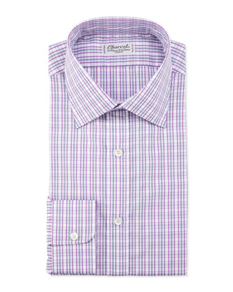Plaid Barrel-Cuff Dress Shirt, Pink/Gray