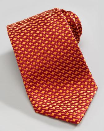Zigzag Silk Tie, Orange/Red