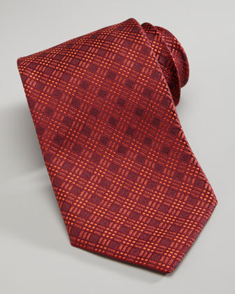 Tonal Plaid Tie, Red