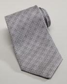 Tonal Plaid Tie, Silver