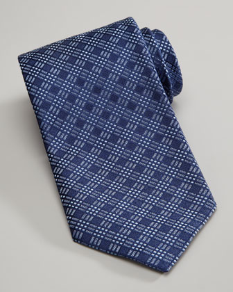 Tonal Plaid Tie, Blue