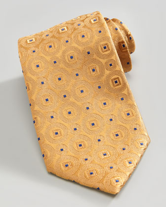Medallion Silk Tie, Gold/Blue