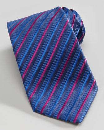 Small-Plaid Barrel-Cuff Dress Shirt & Multi-Striped Silk Tie