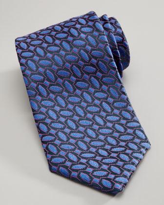 Geometric-Print Silk Tie, Blue/Pink