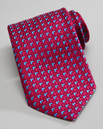 Houndstooth Silk Tie, Red/Blue