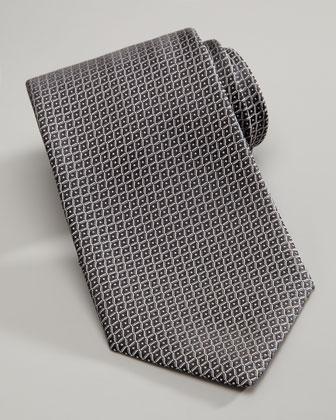 Neat Grid Silk Tie, Silver/Black