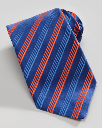 Multi-Striped Silk Tie, Blue/Orange