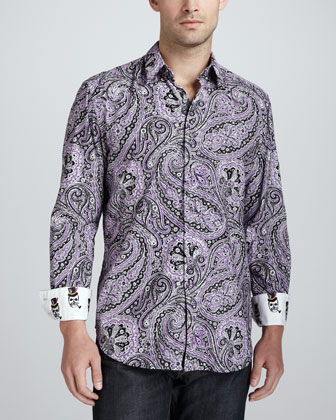 Joule Paisley Sport Shirt, Purple