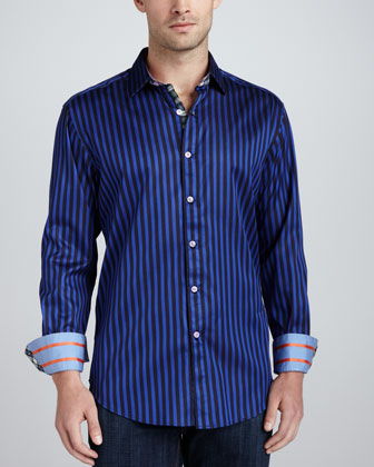 Balik Striped Sport Shirt, Navy