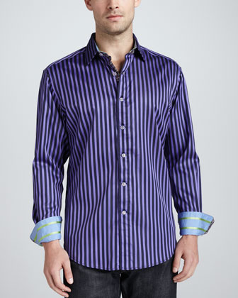 Balik Striped Sport Shirt, Purple