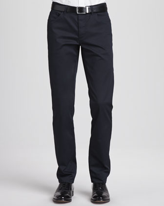 Basic 5-Pocket Stretch-Twill Pants, Navy