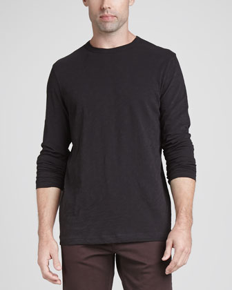 Long-Sleeve Slub Crewneck Tee, Black