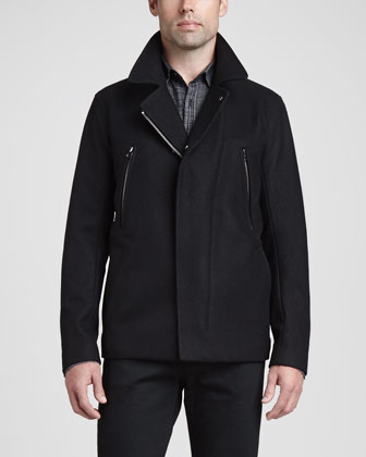 Zip-Placket Wool Coat, Black