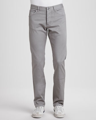 Basic 5-Pocket Stretch-Twill Pants, Gray