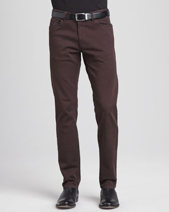 Basic 5-Pocket Stretch-Twill Pants, Wine