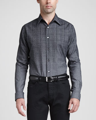 Gradated Plaid-to-Solid Sport Shirt, Dark Gray
