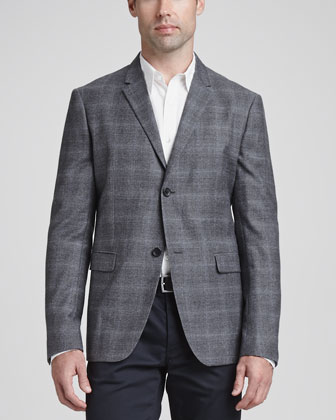 Wool/Cashmere Plaid Sport Coat, Seamed-Front Woven Dress Shirt & Basic ...