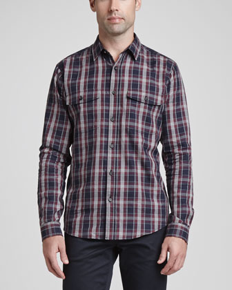 Plaid Two-Pocket Sport Shirt & Basic 5-Pocket Stretch Twill Pants