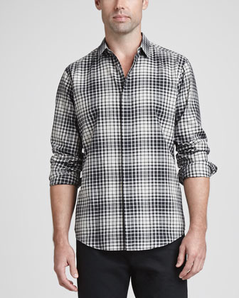Woven Plaid Sport Shirt, Black Multi