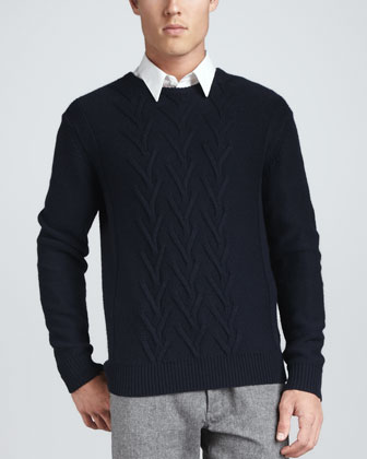 Novel Cable Merino-Wool Sweater, Navy
