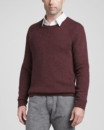 Alpaca-Wool Blend Crewneck Sweater, Red