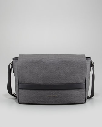 Coated Messenger Bag, Gray