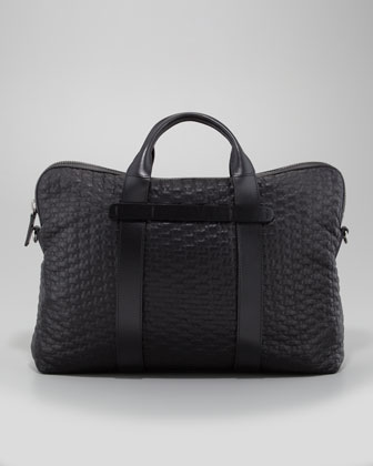 Large Geo Leather Briefcase, Black