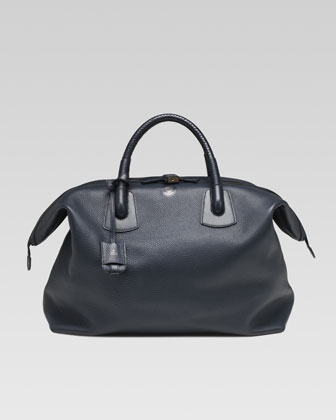 Braided-Handle Duffle Bag, Navy