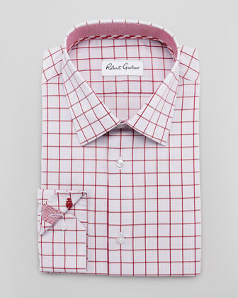 Panter Windowpane Dress Shirt, Red