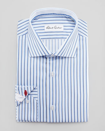 Romeo Striped-Jacquard Dress Shirt, Blue