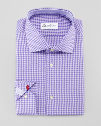 Omega Houndstooth Dress Shirt, Purple