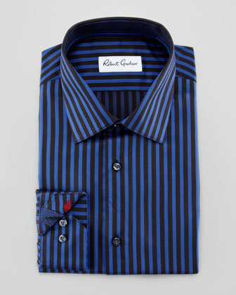 Carter Herringbone-Stripe Dress Shirt, Blue/Back