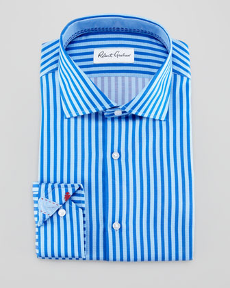 Rupert Satin-Stripe Dress Shirt, Blue