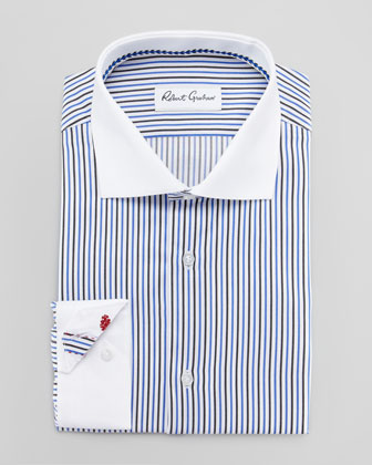 Frank Striped Banker's Dress Shirt, Blue
